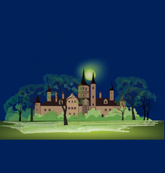 Old house at night park landscape ancient castle vector