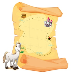 A white horse and a treasure map vector image vector image