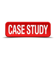 case study red three-dimensional square button vector image