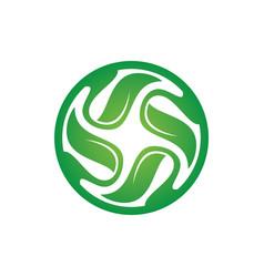 Circle leaf swirl logo image vector