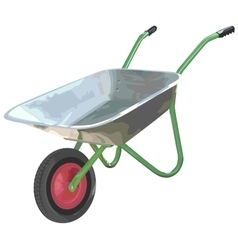 Gardening wheelbarrow on one wheel The empty vector image vector image