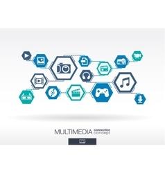 Multimedia network Hexagon abstract background vector image