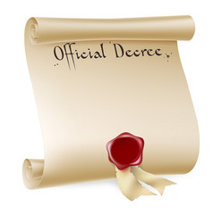 official decree scroll with red wax seal vector image vector image