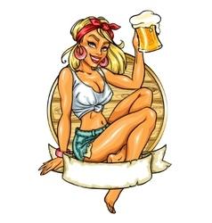 Pretty Pin Up Girl holding beer mug vector image vector image