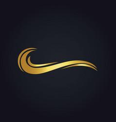 water wave ocean gold logo vector image vector image