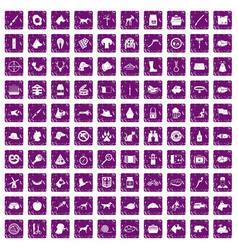100 dog icons set grunge purple vector
