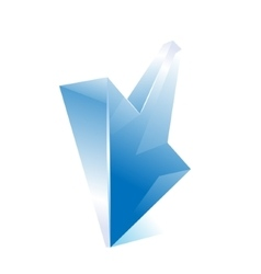 Blue arrow Shiny glass web icon vector image