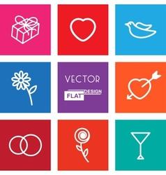 Flat Wedding Icons vector image vector image