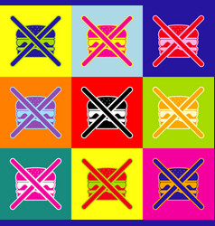 no burger sign pop-art style colorful vector image