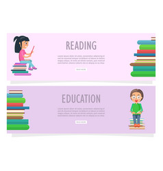 reading or education on two horizontal banners vector image