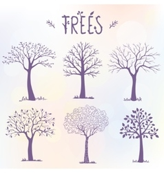 set of trees silhouette vector image vector image