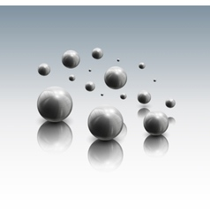 Spheres in motion on gray background vector image vector image