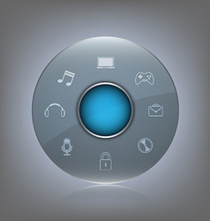 transparent glass button with icon vector image
