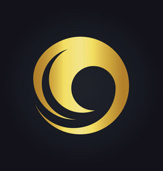 water wave round swirl gold logo vector image vector image