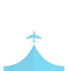 white silhouette of airplane isolated on blue Flat vector image