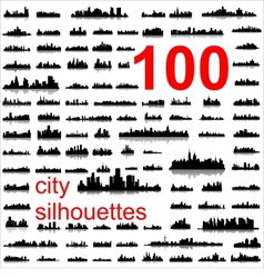 world city silhouettes vector image vector image
