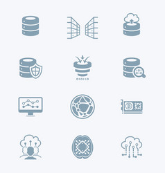 big data icons - tech series vector image vector image