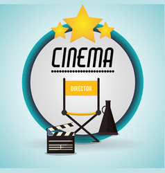 Cinema director chair clapper and speaker badge vector