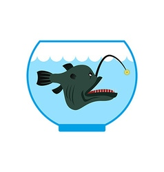 Deep sea fish in Aquarium Terrible anglerfish in vector image vector image