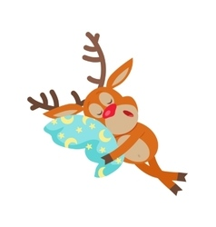Deer Sleeping on Pillow Isolated Reindeer Sleeps vector image vector image