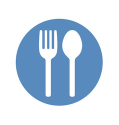 fork and spoon icon placed in blue circle vector image