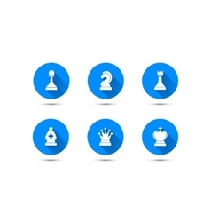 Simple chess icons with long shadow isolated on vector image