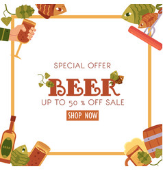 square sale banner flyer design with beer objects vector image