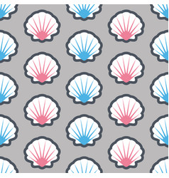 Summer seamless pattern with seashell vector