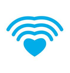 Wi-fi love wifi heart wireless communication for vector