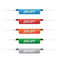 20 percent off paper tag labels vector image