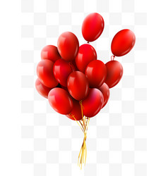 3d realistic red bunch flying birthday balloons vector image