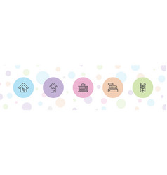 5 residential icons vector