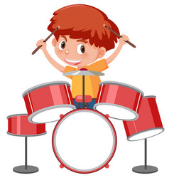 A girl playing a drum set vector