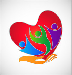A helping hand to the people heart symbol vector