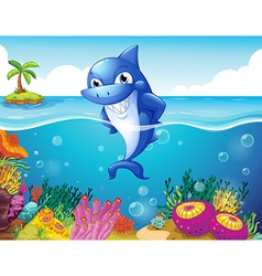 A shark in the deep sea smiling vector image