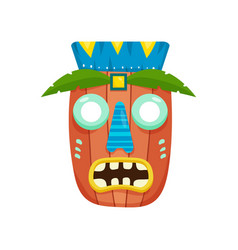 african mask with headdress and big round eyes vector image