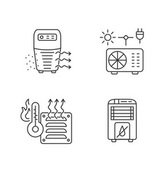 Air heating linear icons set vector