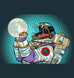 Astronaut monster eats moon greed and hunger vector