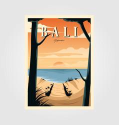 bali beach sunset vintage travel poster design vector image