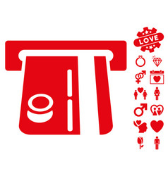 Bank terminal icon with love bonus vector
