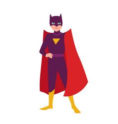 Batboy teenage kid in bat costume standing vector