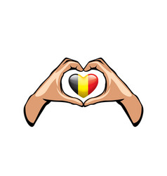 Belgium flag and hand on white background vector