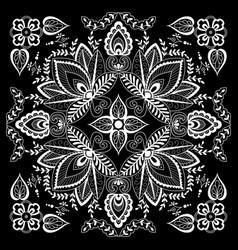 black and white abstract bandana print vector image