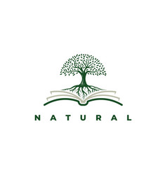 book with tree logo design symbol template vector image