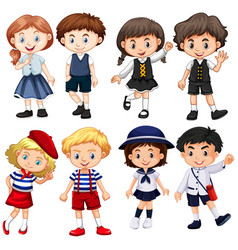 boys and girls in cute costumes vector image
