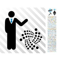 Businessman show iota flat icon with bonus vector