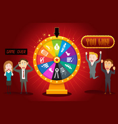 businesspeople with financial wheel of fortune vector image