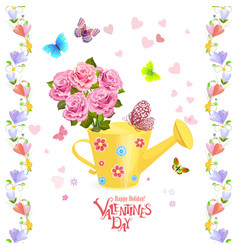 Can watering with bouquet of roses and flying vector