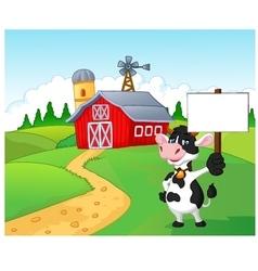 Cartoon cow holding blank sign with farm backgroun vector