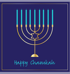 Chanukah menorah graphic on blue vector